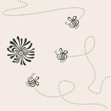 trajectoire: trajectoire de vol de trois abeilles Illustration