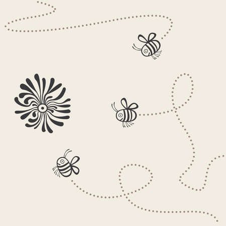 trajectory: trajectory of flight of three bees