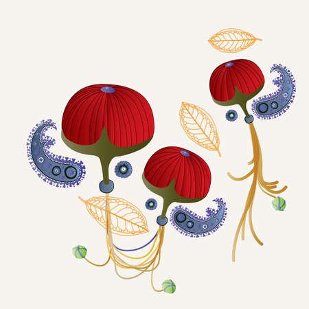 red fruit of hangings gardens  Illusztráció