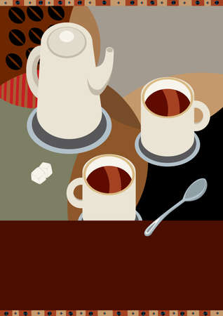coffeepot: cup of coffee Illustration