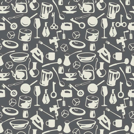 ladles: housewares seamless grey background Illustration