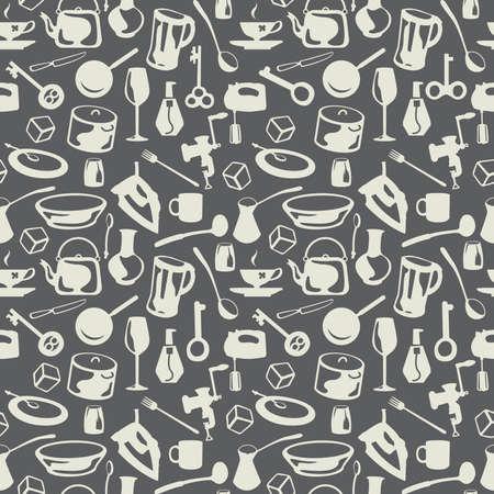 mestolo: sfondo grigio senza saldatura Housewares  Vettoriali