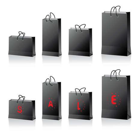 black shopping bags set Vector