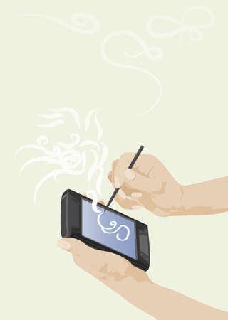 digitized: bolsillo en manos de la mujer  Vectores