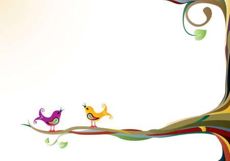 �rboles con pajaros: Aves en un �rbol
