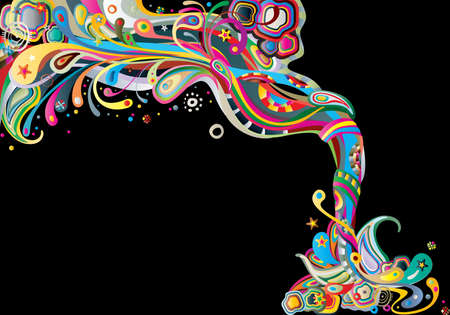 torrent: abstract color composition on a black Illustration
