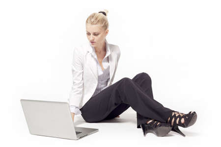 Woman with a laptop computer photo