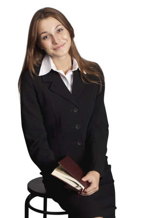 young attractive business woman holding a folder. Stock Photo - 8014644