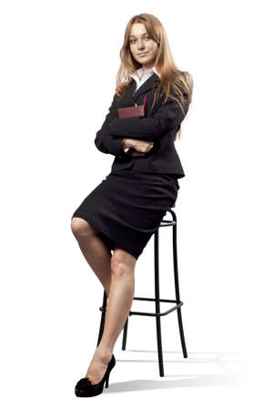 chear: business woman sitting on chear white background isolated