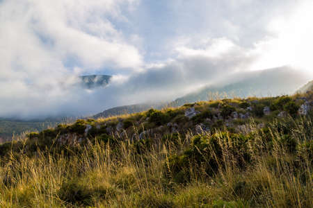 Meadow in the mountains at dawn in Sicily