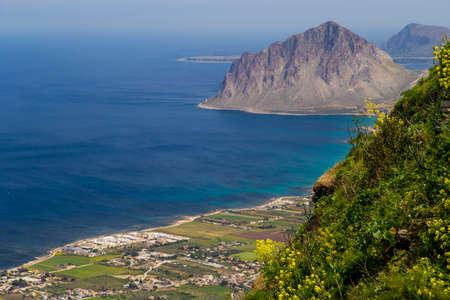 erice: View on Riserva Naturale Orientata Monte Cofano from Erice near Trapani Sicily, Italy