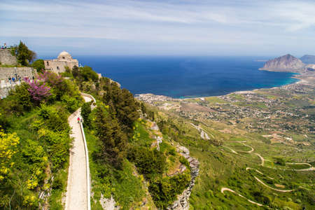 erice: A mid-air view on historical Church of Giovanni in Erice. Located in a historical centuries-old village of Erice, in Province of Trapani Sicily, Italy