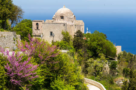 erice: A view on historical Church of Giovanni in Erice. Located in a historical centuries-old village of Erice, in Province of Trapani Sicily, Italy