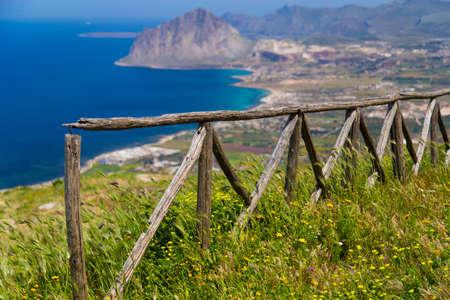 erice: Scenic view on Monte Cofano in Erice Stock Photo