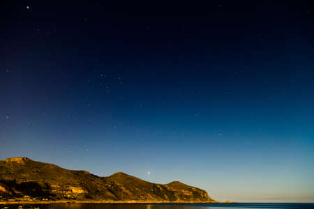 egadi: Starry night sky on Favignana Island in Sicily