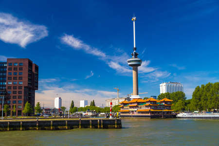Euromast Tower in Rotterdam with floating Chinese restaurant