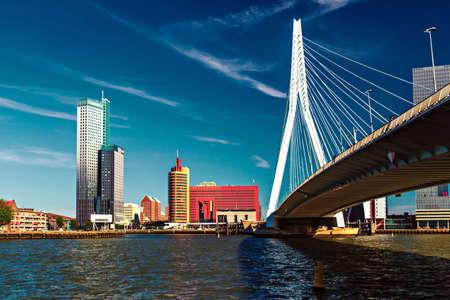 Lomograph view on Erasmus Bridge in Rotterdam, Netherlands Stok Fotoğraf