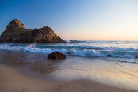scenic  landscape: Sunset at the beach at Pfeiffer State Park, Big Sur, California