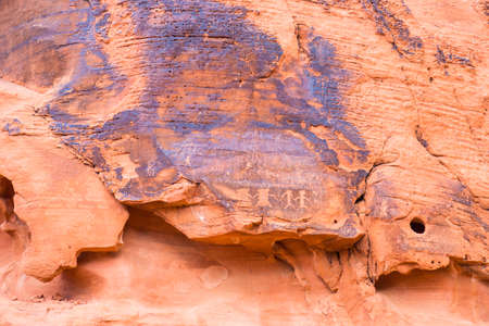 monument valley: Ancient rock carvings in Valley of Fire State Park, Nevada, USA Stock Photo