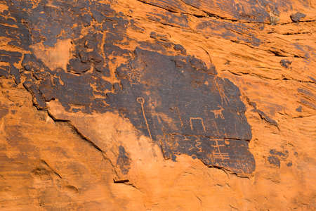 depictions: Ancient rock art and carving in Valley of Fire State Park, South Nevada