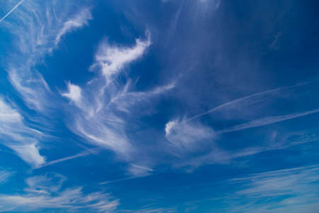 angle view: Daytime sky with cirrus and stratus clouds wide-angle contrast daytime nature background