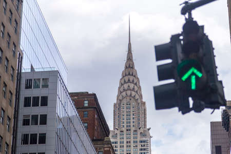 trafic: Green street light with Chrysler Building in background, New York City