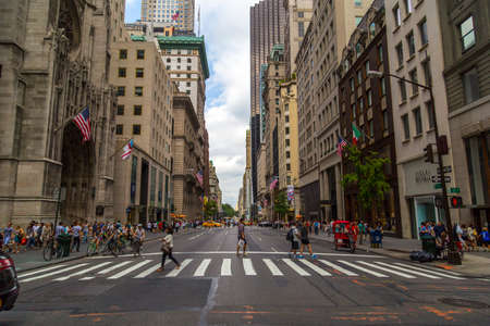 fifth avenue: Pedestrian crosswalk at intersection of Fifth Avenue and 53rd Street, NYC