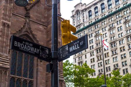 street signs: Broadway and Wall Street Signs, Manhattan, New York, USA