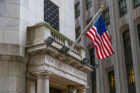stock: The side entrance of New York Stock Exchange, New York City. Editorial