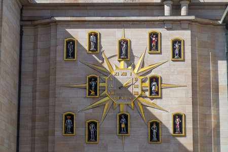 decoraton: Clock Carillon du Mont des Arts on the wall of Palace of Dynasty, Brussels, Belgium Editorial
