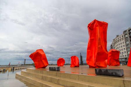 strangers: Rock Strangers art installation by Arne Quinze on the seabank in Ostend, Belgium