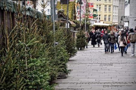 group of happy people: Christmas trees on sale and passing people at Market in Cologne, Germany Editorial