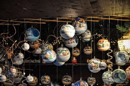 vend: Close-up of variety Christmas decorations on sale at the market in Cologne, Germany Stock Photo