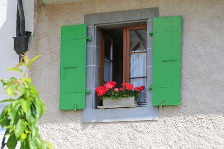 flourished: Wooden window with green shutters decorated with flowers in small village of Lutry, Switzerland