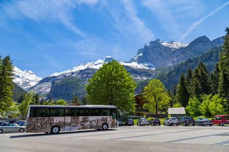 oberland: Parking lot near Kandersteg on Bernese Oberland in Switzerland