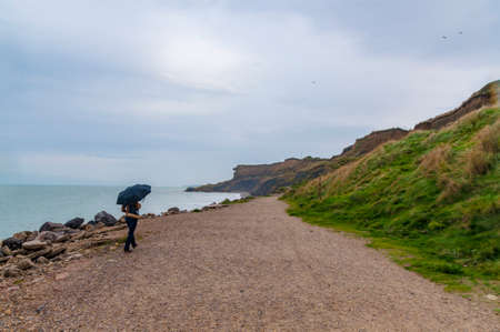 pas: Promenade near the seafront at Wimereux, Pas de Calais, France