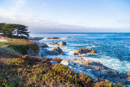 monterey: Seascape of Monterey Bay at Sunset in Pacific Grove, California, USA