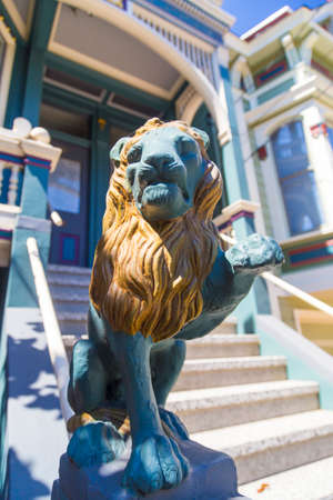 frisco: Closeup of a lion decoration on San Francisco Victorian house in Haight Ashbury, California USA Editorial