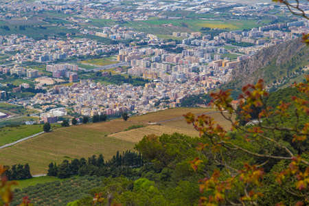 erice: View from medieval town Erice on top of Mount Erice on Trapani, Sicily Stock Photo