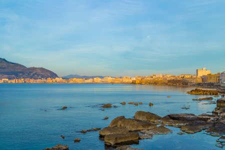 tyrrhenian: Port of Trapani in Sicily, Italy at dusk Stock Photo