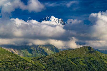 Mountain landscape southwest of Lac dEmosson reservoir, Valais, Switzerland