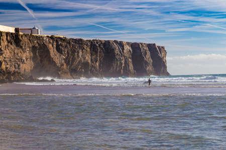 praia: Praia Do Tonel, small isolated beach in Alentejo region, Sagres, Portugal. Stock Photo