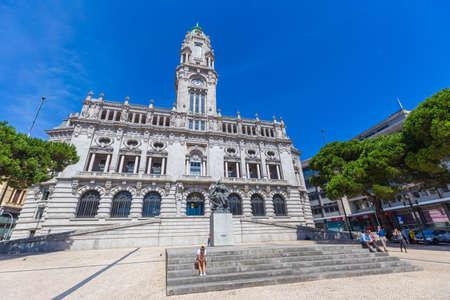 PORTO, PORTUGAL - 12 SEPTEMBER 2016: Building of the City Hall of Porto seen on a clear sunny day in Aliados Avenue in the historic center of Porto, Portugal. Architect Correia da Silva