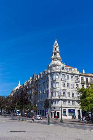municipal editorial: PORTO, PORTUGAL - 12 SEPTEMBER 2016: BBVA bank building on the Aliados Avenue in Porto, Portugal Editorial