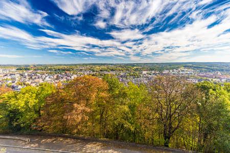 Aerial view of city Namur and Meuse river, Belgium