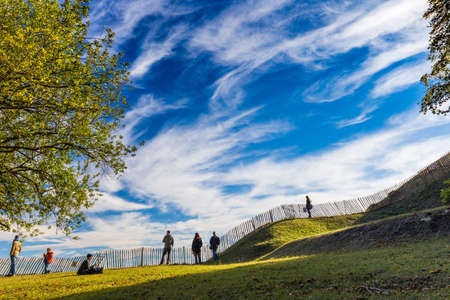 NAMUR, BELGIUM - 16 OCTOBER 2016: People enjoying good weather in park of Citadel of Namur during sunny day.