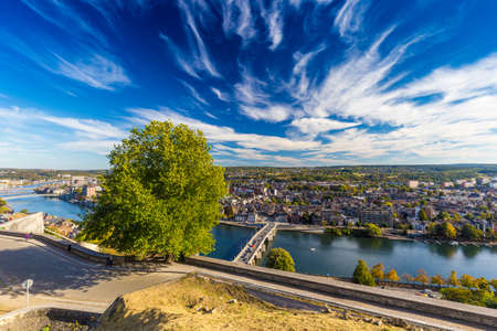 wallonie: Aerial view of city Namur and Meuse river, Belgium