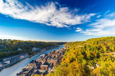 Aerial view of Dinant, Belgium and river Meuse