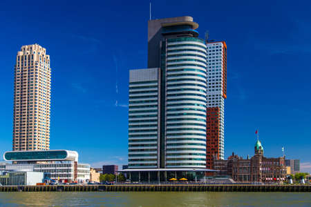 View on Port of Rotterdam business area, Netherlands Stock Photo