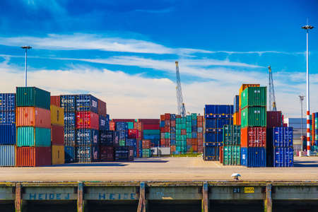 tonnage: Containers stacked in Port of Rotterdam Editorial